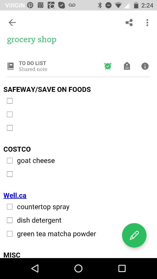 My grocery list on the mobile app.